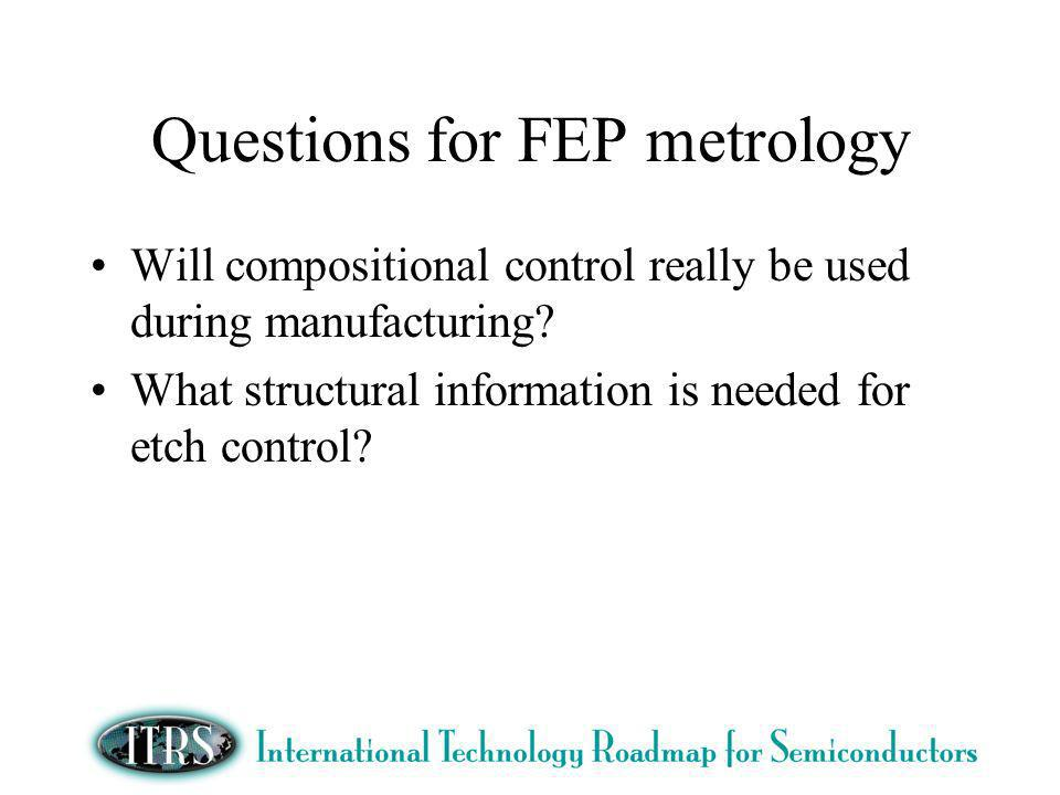 Questions for FEP metrology Will compositional control really be used during manufacturing.