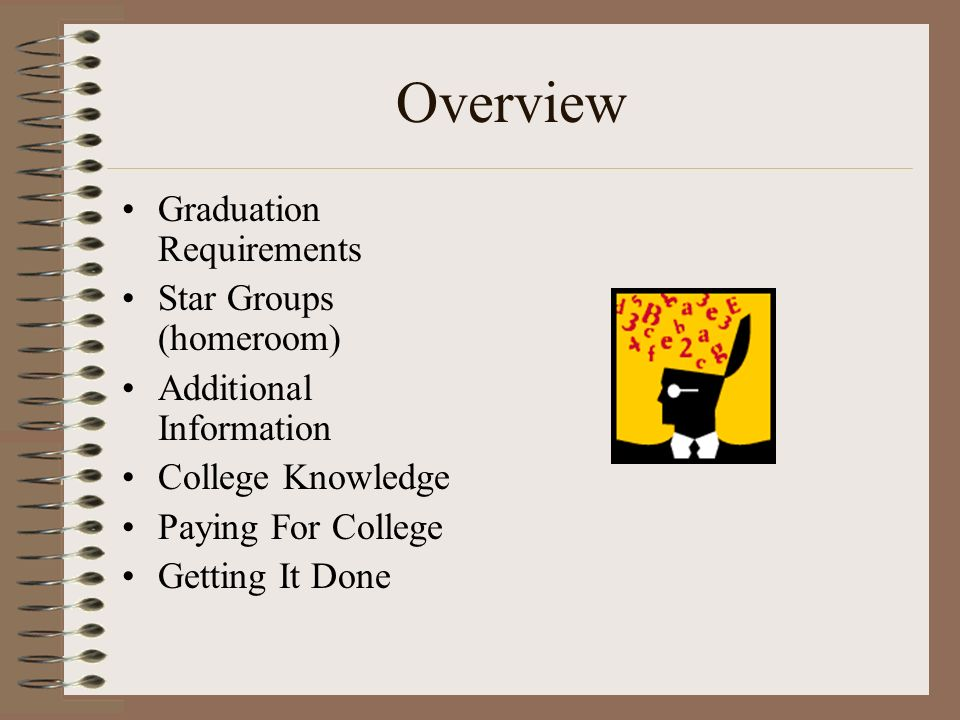 Overview Graduation Requirements Star Groups (homeroom) Additional Information College Knowledge Paying For College Getting It Done