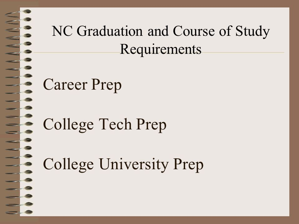 Career Prep College Tech Prep College University Prep NC Graduation and Course of Study Requirements