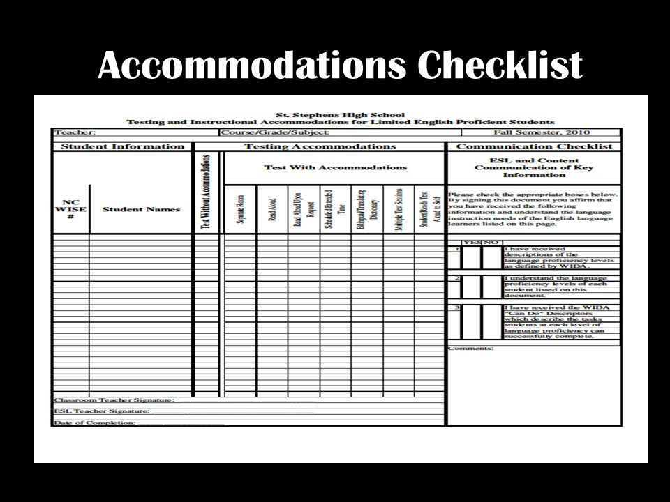 Accommodations Checklist