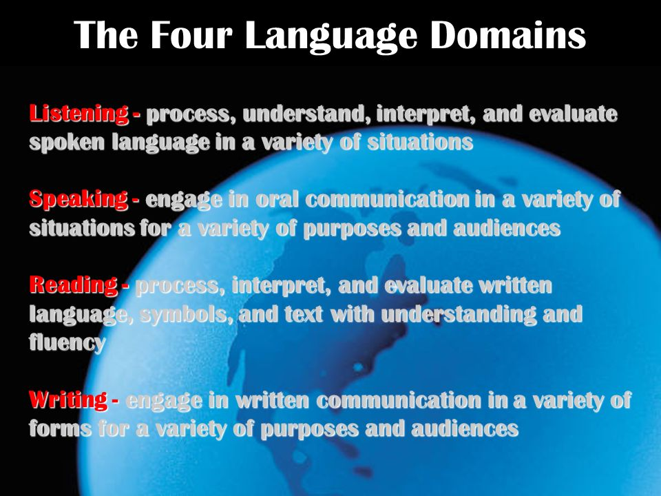 The Four Language Domains Listening - process, understand, interpret, and evaluate spoken language in a variety of situations Speaking - engage in oral communication in a variety of situations for a variety of purposes and audiences Reading - process, interpret, and evaluate written language, symbols, and text with understanding and fluency Writing - engage in written communication in a variety of forms for a variety of purposes and audiences