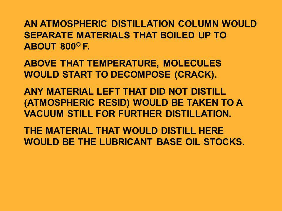 AN ATMOSPHERIC DISTILLATION COLUMN WOULD SEPARATE MATERIALS THAT BOILED UP TO ABOUT 800 O F.