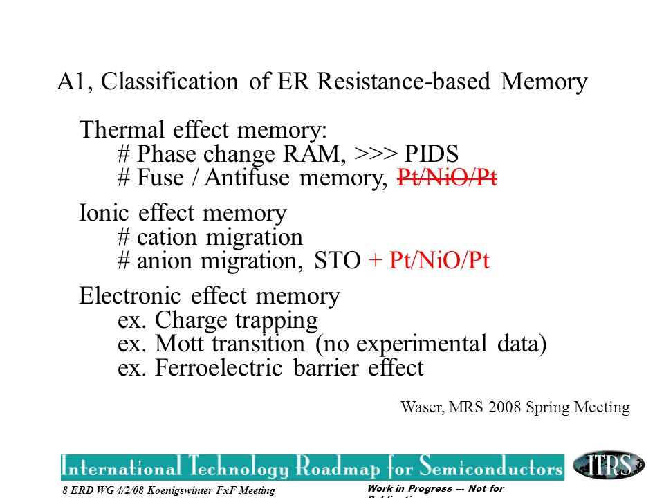 Work in Progress --- Not for Publication 8 ERD WG 4/2/08 Koenigswinter FxF Meeting A1, Classification of ER Resistance-based Memory Thermal effect memory: # Phase change RAM, >>> PIDS # Fuse / Antifuse memory, Pt/NiO/Pt Ionic effect memory # cation migration # anion migration, STO + Pt/NiO/Pt Electronic effect memory ex.