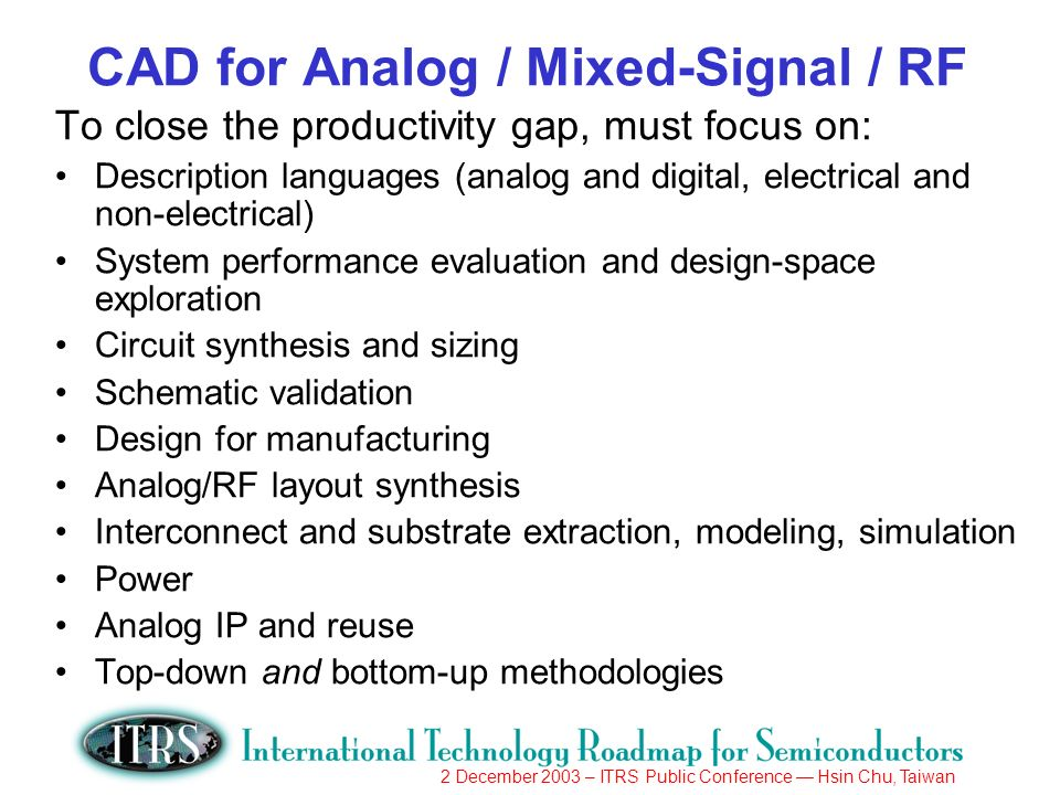 2 December 2003 – ITRS Public Conference Hsin Chu, Taiwan CAD for Analog / Mixed-Signal / RF To close the productivity gap, must focus on: Description languages (analog and digital, electrical and non-electrical) System performance evaluation and design-space exploration Circuit synthesis and sizing Schematic validation Design for manufacturing Analog/RF layout synthesis Interconnect and substrate extraction, modeling, simulation Power Analog IP and reuse Top-down and bottom-up methodologies
