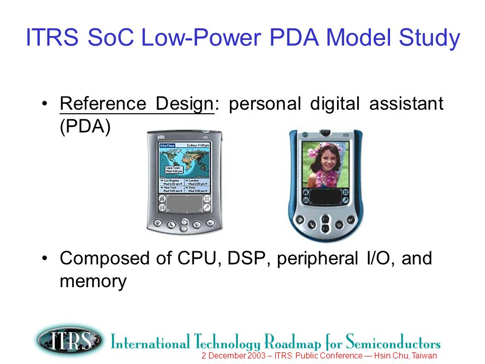2 December 2003 – ITRS Public Conference Hsin Chu, Taiwan ITRS SoC Low-Power PDA Model Study Reference Design: personal digital assistant (PDA) Composed of CPU, DSP, peripheral I/O, and memory