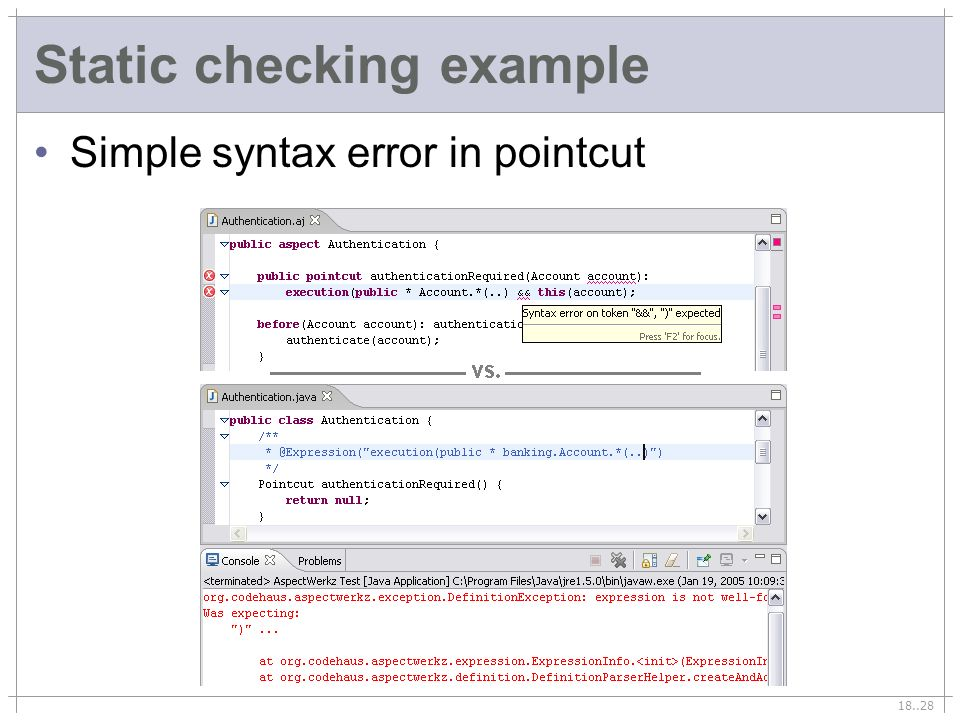 18..28 Static checking example Simple syntax error in pointcut