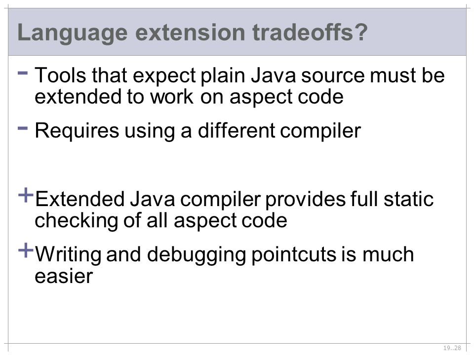 19..28 Language extension tradeoffs.