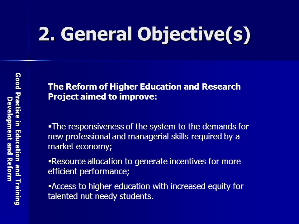 Good Practice in Education and Training Development and Reform 2.