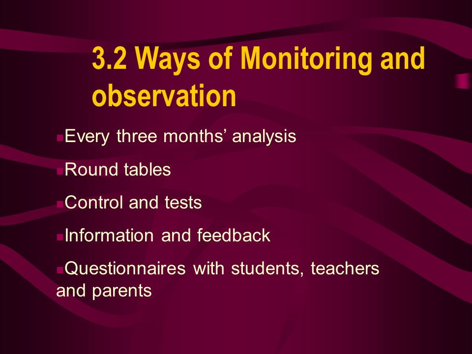 3.1 Monitoring of experiment Directorate and board of school Education Regional Department Ministry of Education and Science