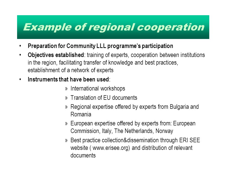 Example of regional cooperation Preparation for Community LLL programmes participation Objectives established : training of experts, cooperation between institutions in the region, facilitating transfer of knowledge and best practices, establishment of a network of experts Instruments that have been used : »International workshops »Translation of EU documents »Regional expertise offered by experts from Bulgaria and Romania »European expertise offered by experts from: European Commission, Italy, The Netherlands, Norway »Best practice collection&dissemination through ERI SEE website (   and distribution of relevant documents