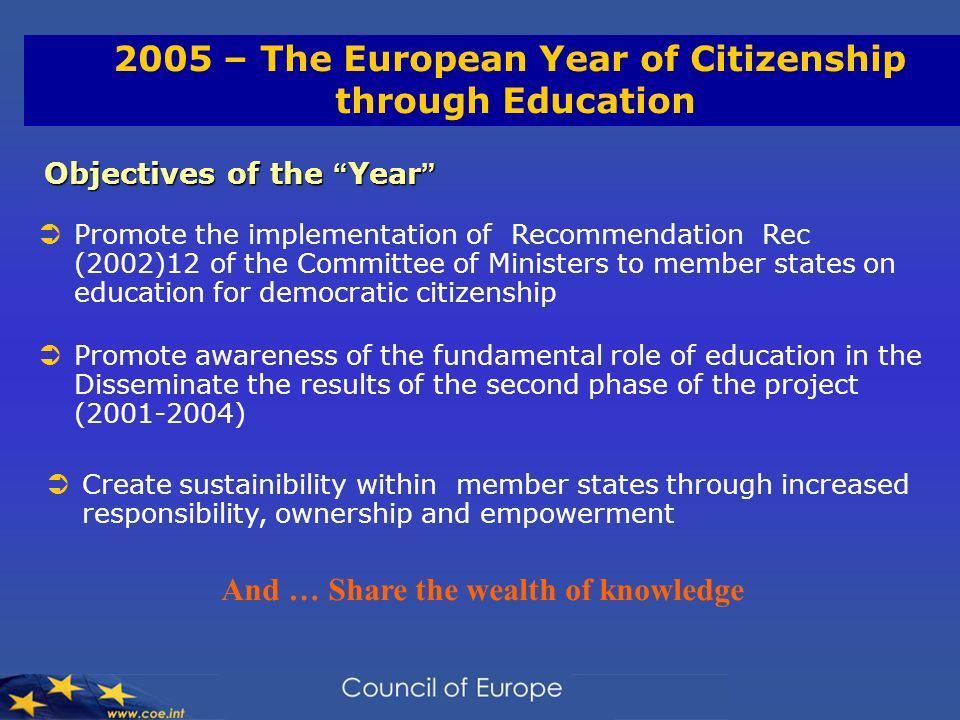 2005 – The European Year of Citizenship through Education Objectives of the Year Objectives of the Year Promote the implementation of Recommendation Rec (2002)12 of the Committee of Ministers to member states on education for democratic citizenship Promote awareness of the fundamental role of education in the Disseminate the results of the second phase of the project ( ) Create sustainibility within member states through increased responsibility, ownership and empowerment And … Share the wealth of knowledge