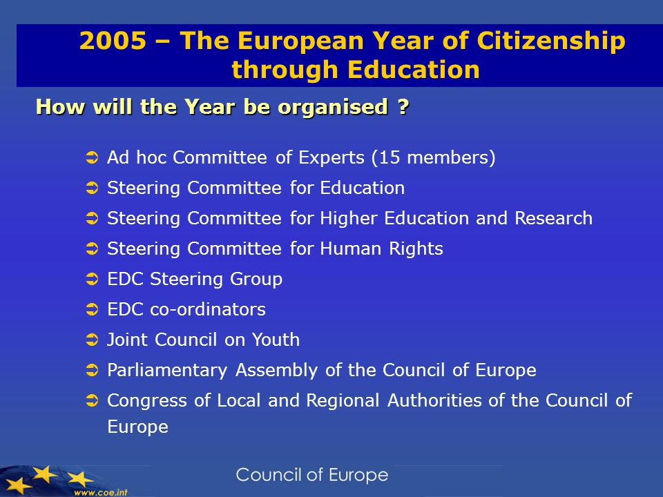 2005 – The European Year of Citizenship through Education How will the Year be organised .