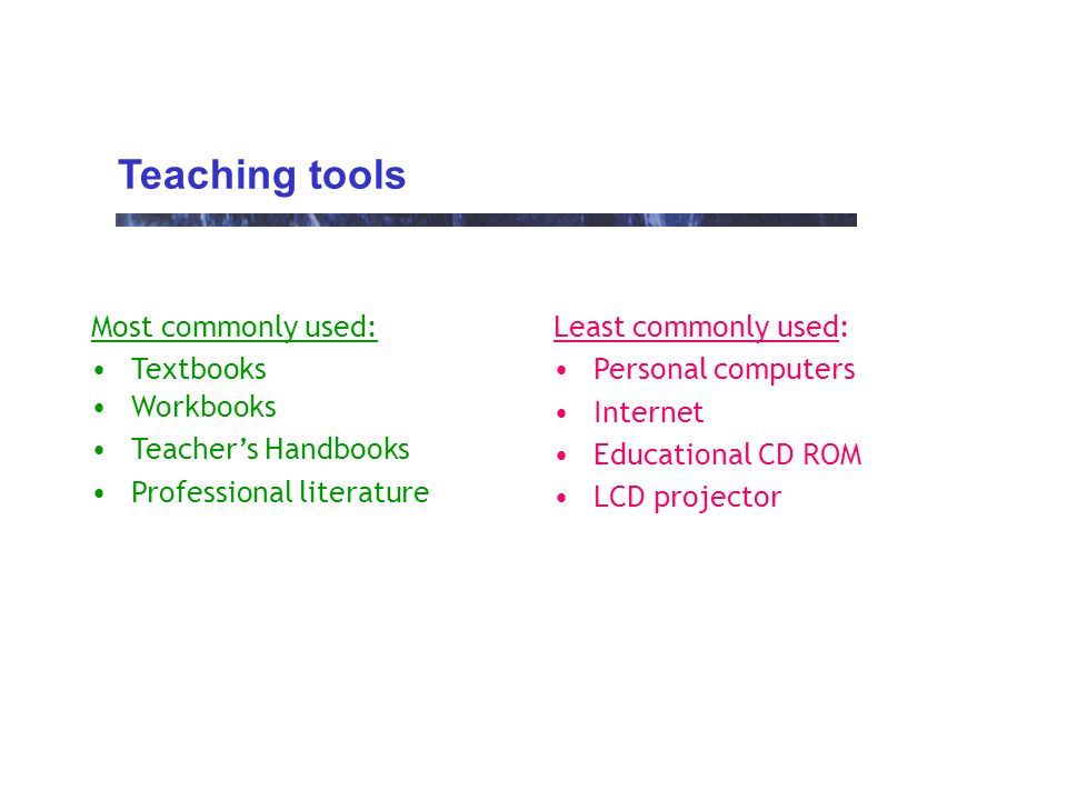 Teaching tools Most commonly used: Textbooks Workbooks Teachers Handbooks Professional literature Least commonly used: Personal computers Internet Educational CD ROM LCD projector
