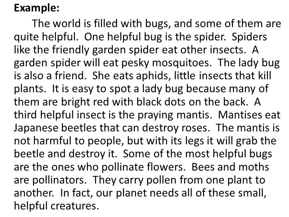 Example: The world is filled with bugs, and some of them are quite helpful.