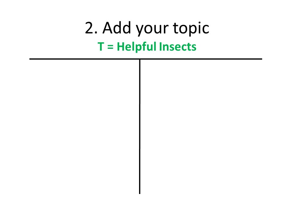2. Add your topic T = Helpful Insects