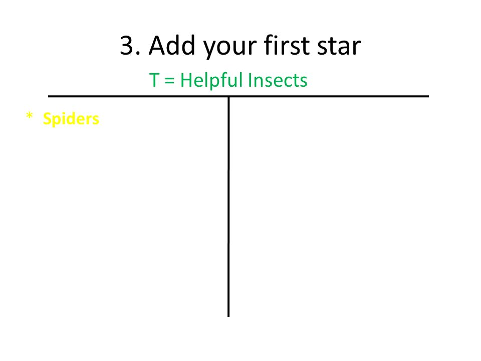 3. Add your first star *Spiders T = Helpful Insects