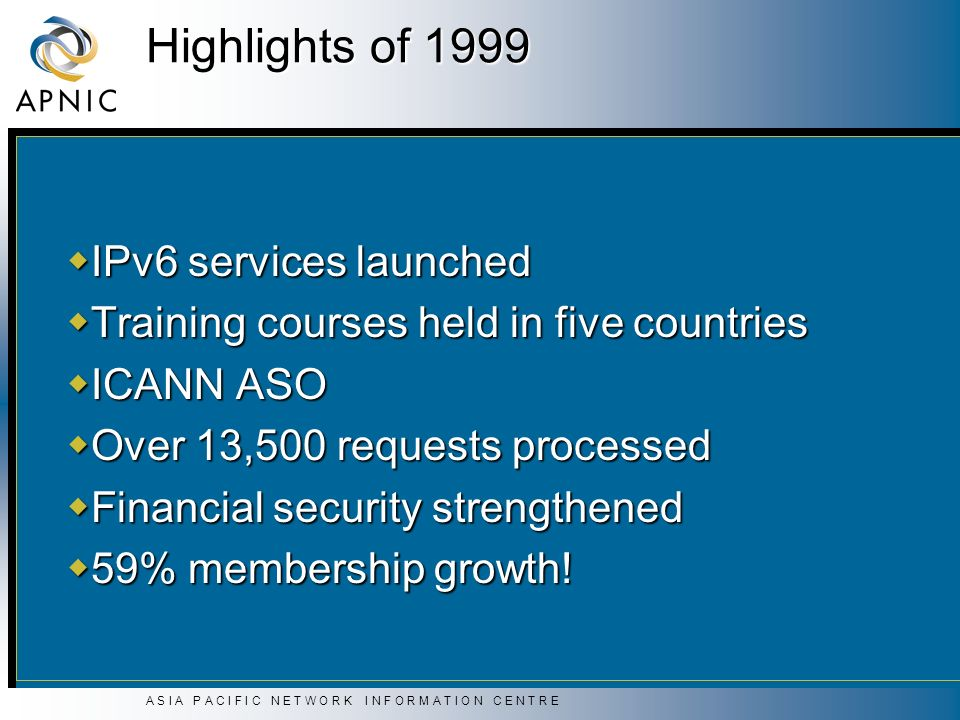 A S I A P A C I F I C N E T W O R K I N F O R M A T I O N C E N T R E Highlights of 1999 IPv6 services launched IPv6 services launched Training courses held in five countries Training courses held in five countries ICANN ASO ICANN ASO Over 13,500 requests processed Over 13,500 requests processed Financial security strengthened Financial security strengthened 59% membership growth.