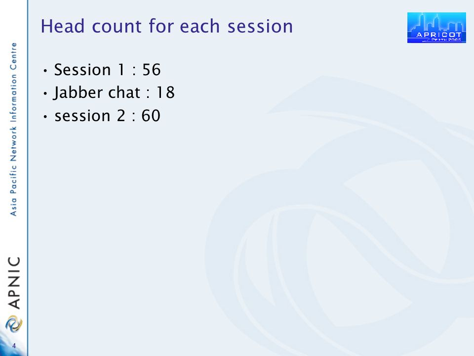 4 Head count for each session Session 1 : 56 Jabber chat : 18 session 2 : 60