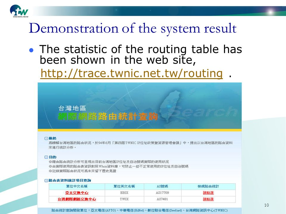 10 Demonstration of the system result The statistic of the routing table has been shown in the web site, http://trace.twnic.net.tw/routing.http://trace.twnic.net.tw/routing