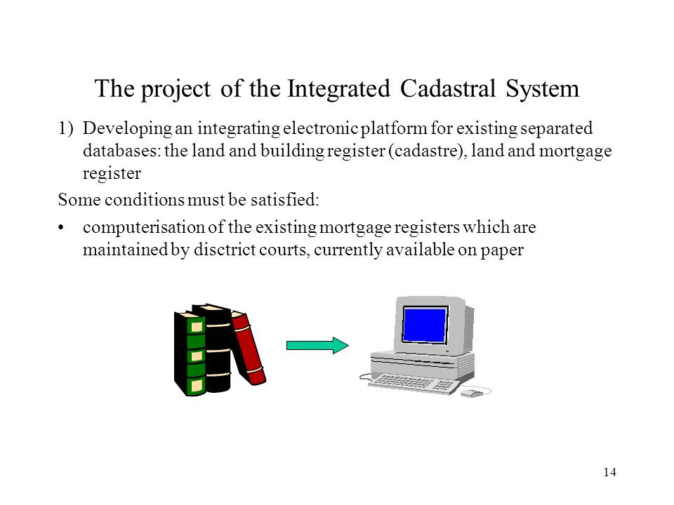 14 The project of the Integrated Cadastral System 1)Developing an integrating electronic platform for existing separated databases: the land and building register (cadastre), land and mortgage register Some conditions must be satisfied: computerisation of the existing mortgage registers which are maintained by disctrict courts, currently available on paper
