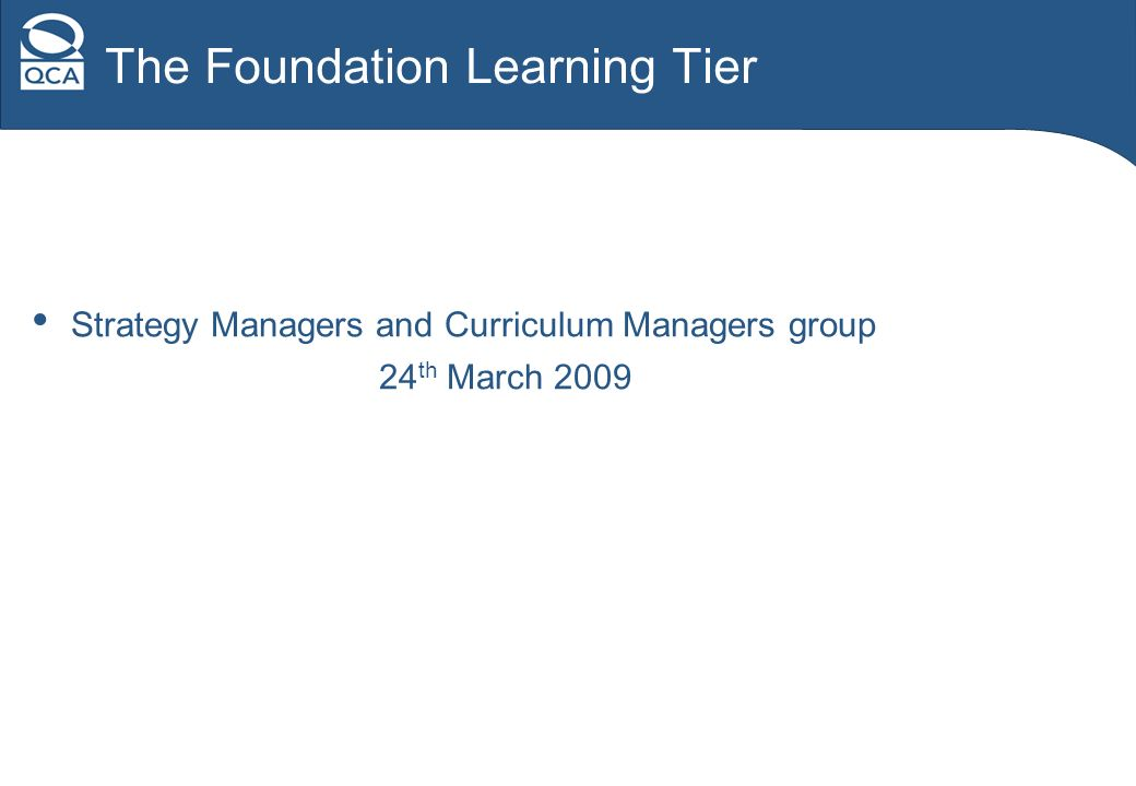 The Foundation Learning Tier Strategy Managers and Curriculum Managers group 24 th March 2009