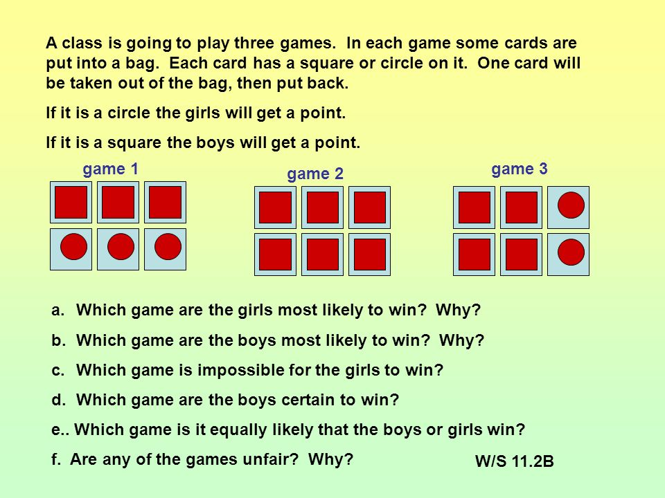 Answers: 1.There are ten balls in a bag 3 red, 2 blue, and 5 green.