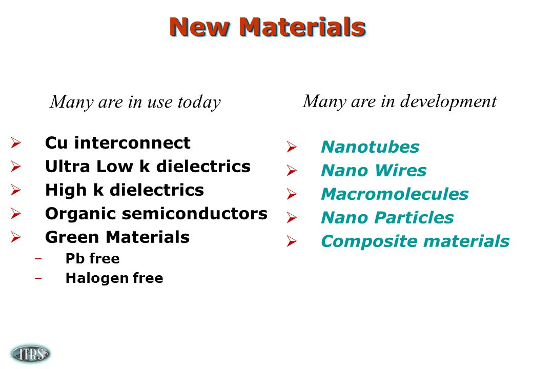 New Materials Cu interconnect Ultra Low k dielectrics High k dielectrics Organic semiconductors Green Materials –Pb free –Halogen free Many are in use today Many are in development Nanotubes Nano Wires Macromolecules Nano Particles Composite materials
