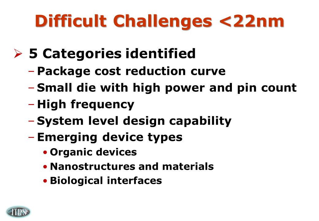 Difficult Challenges <22nm 5 Categories identified –Package cost reduction curve –Small die with high power and pin count –High frequency –System level design capability –Emerging device types Organic devices Nanostructures and materials Biological interfaces