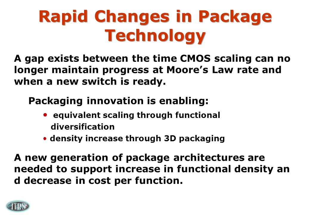 Rapid Changes in Package Technology A gap exists between the time CMOS scaling can no longer maintain progress at Moores Law rate and when a new switch is ready.