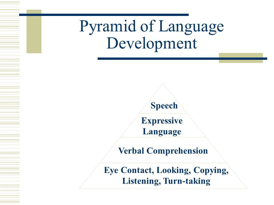 Pyramid of Language Development Speech Expressive Language Verbal Comprehension Eye Contact, Looking, Copying, Listening, Turn-taking