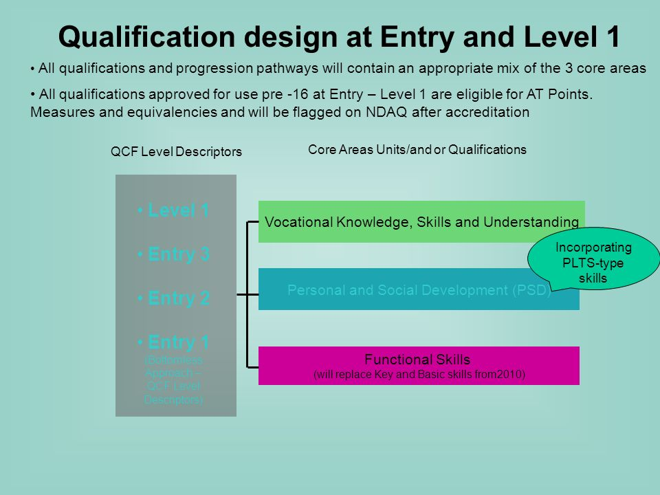 Level 1 Entry 3 Entry 2 Entry 1 (Bottomless Approach – QCF Level Descriptors) QCF Level Descriptors Core Areas Units/and or Qualifications Personal and Social Development (PSD) Vocational Knowledge, Skills and Understanding Functional Skills (will replace Key and Basic skills from2010) Qualification design at Entry and Level 1 Incorporating PLTS-type skills All qualifications and progression pathways will contain an appropriate mix of the 3 core areas All qualifications approved for use pre -16 at Entry – Level 1 are eligible for AT Points.
