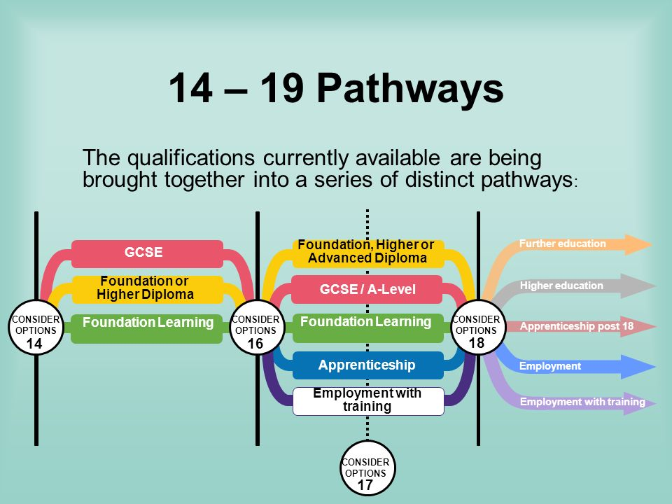 14 – 19 Pathways The qualifications currently available are being brought together into a series of distinct pathways : CONSIDER OPTIONS 17 GCSE Foundation Learning Apprenticeship Foundation or Higher Diploma Foundation Learning Foundation, Higher or Advanced Diploma GCSE / A-Level Employment with training CONSIDER OPTIONS 16 CONSIDER OPTIONS 14 Further education Higher education Employment Employment with training Apprenticeship post 18 CONSIDER OPTIONS 18