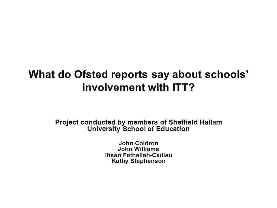 What do Ofsted reports say about schools involvement with ITT.