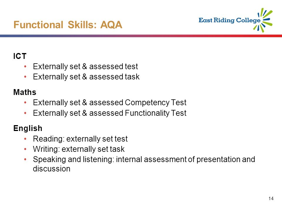 14 ICT Externally set & assessed test Externally set & assessed task Maths Externally set & assessed Competency Test Externally set & assessed Functionality Test English Reading: externally set test Writing: externally set task Speaking and listening: internal assessment of presentation and discussion Functional Skills: AQA