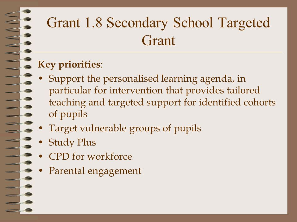 Grant 1.8 Secondary School Targeted Grant Key priorities : Support the personalised learning agenda, in particular for intervention that provides tailored teaching and targeted support for identified cohorts of pupils Target vulnerable groups of pupils Study Plus CPD for workforce Parental engagement