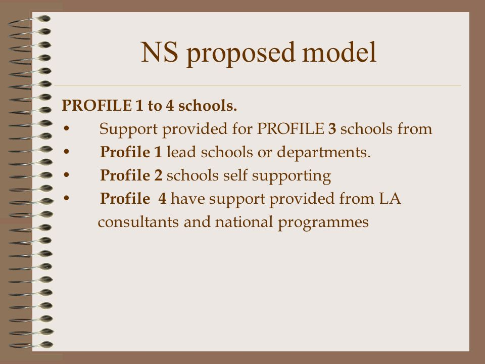 NS proposed model PROFILE 1 to 4 schools.