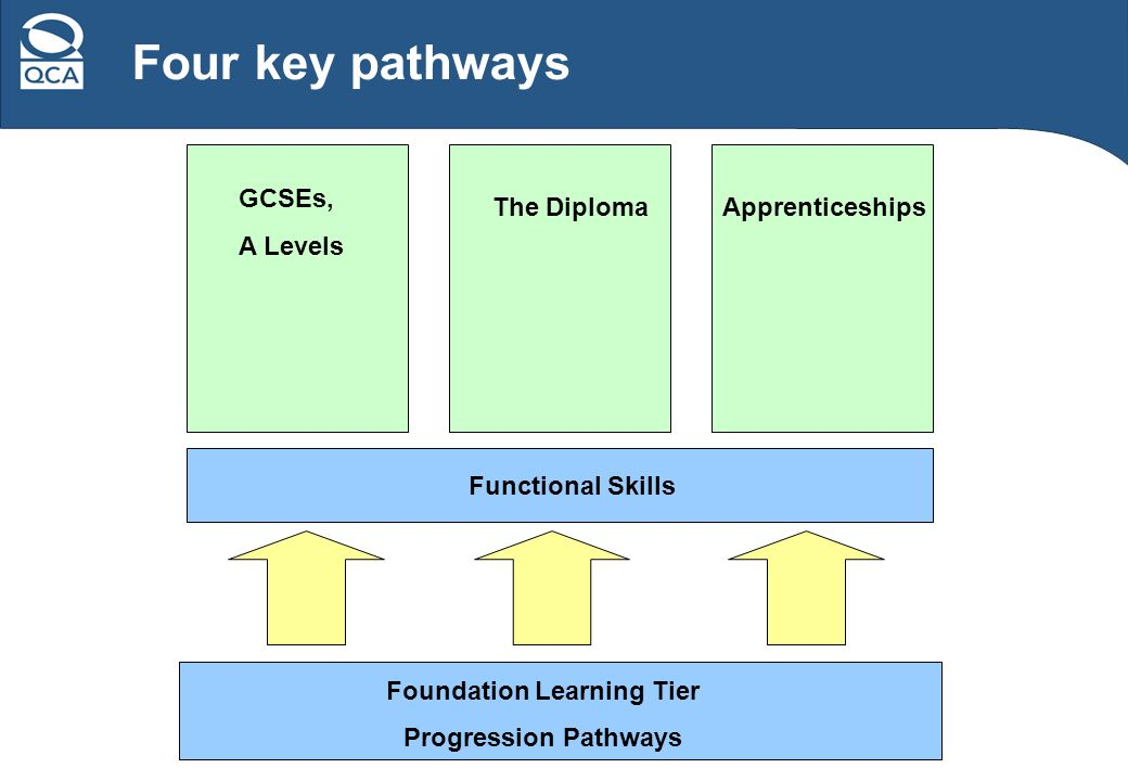 Four key pathways Functional Skills Foundation Learning Tier Progression Pathways GCSEs, A Levels The DiplomaApprenticeships