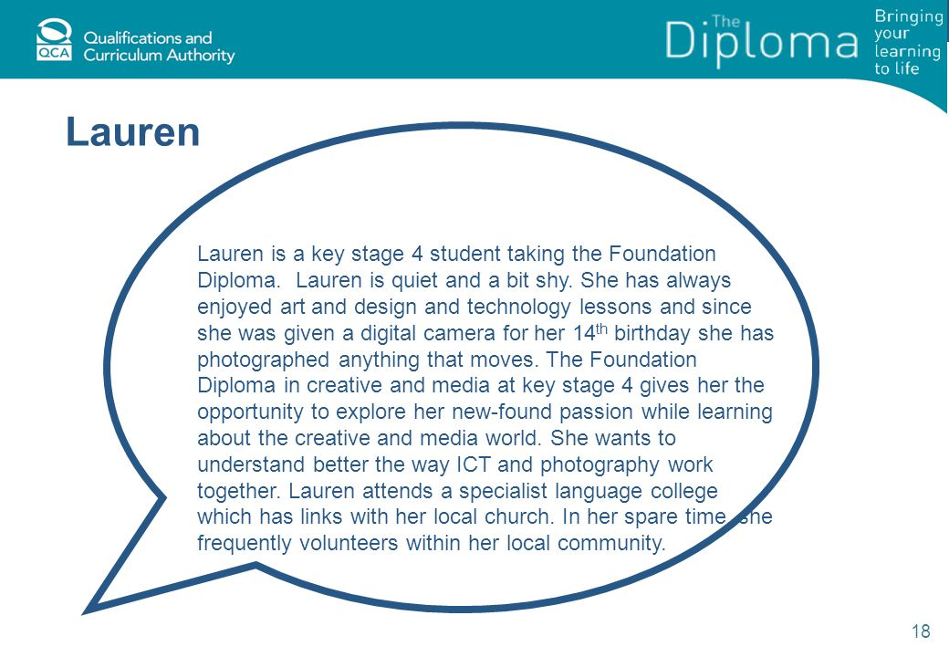 Lauren 18 Lauren is a key stage 4 student taking the Foundation Diploma.