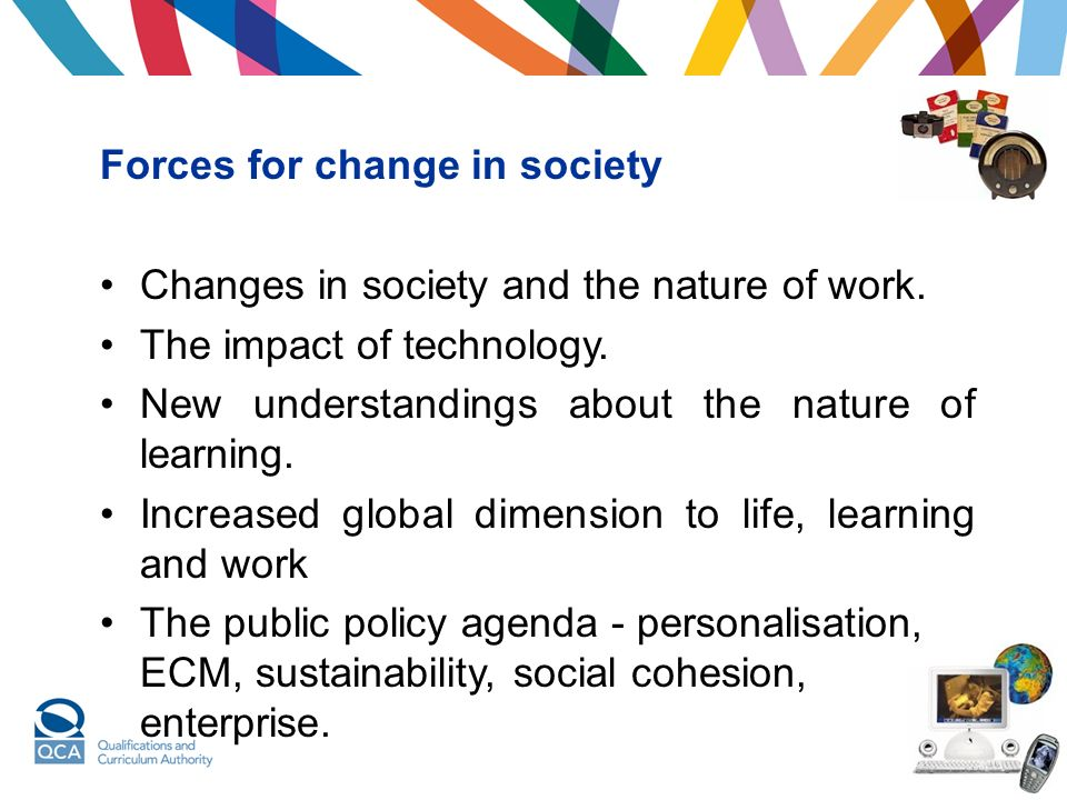 Forces for change in society Changes in society and the nature of work.