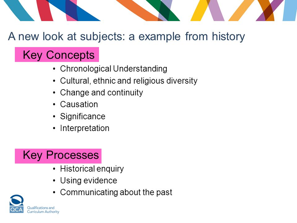Key Concepts Chronological Understanding Cultural, ethnic and religious diversity Change and continuity Causation Significance Interpretation Key Processes Historical enquiry Using evidence Communicating about the past A new look at subjects: a example from history