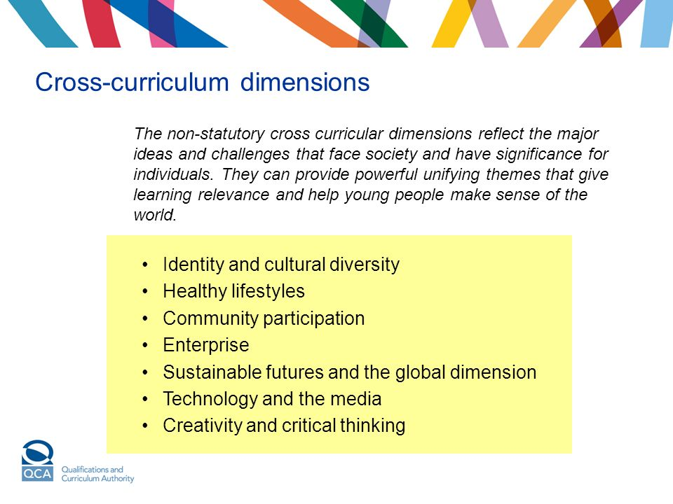 Cross-curriculum dimensions The non-statutory cross curricular dimensions reflect the major ideas and challenges that face society and have significance for individuals.