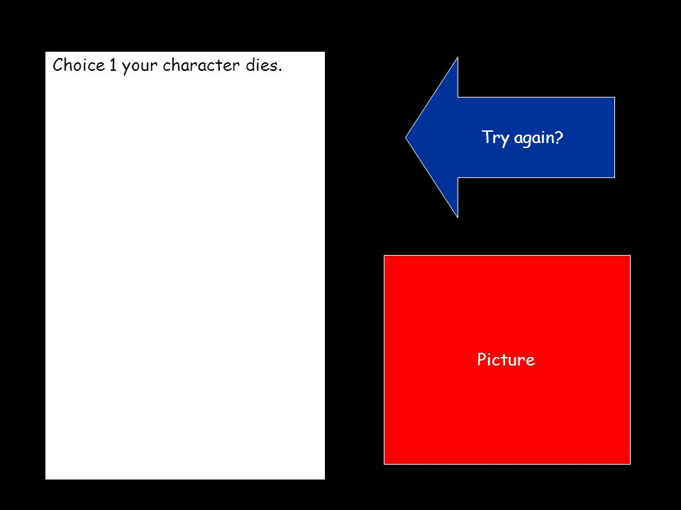 Choice 1 your character dies. Try again Picture