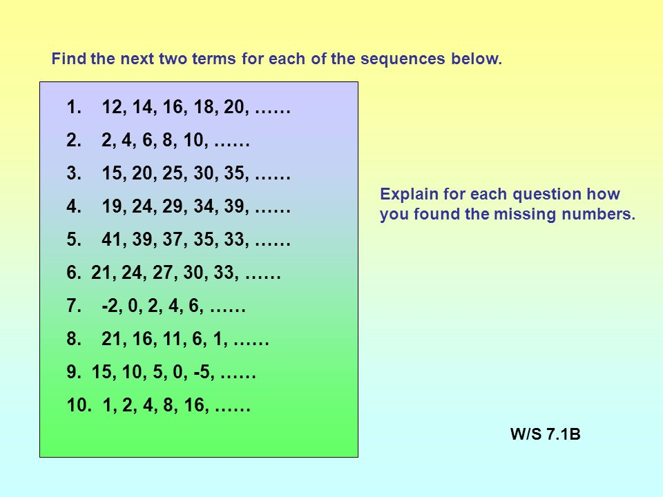 Objectives: Generate and describe sequences. Vocabulary: