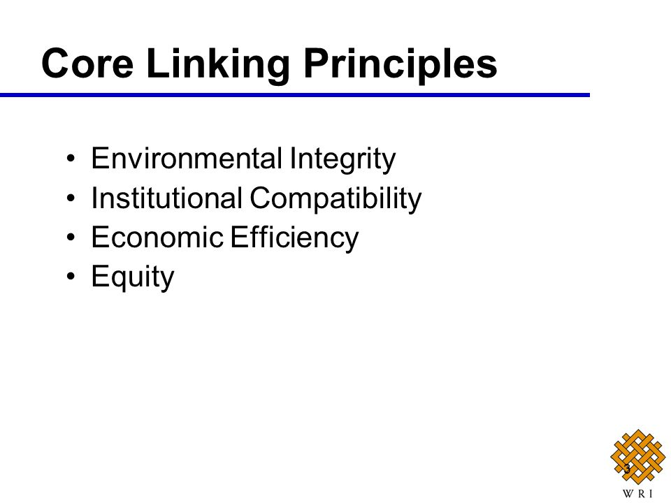 3 Environmental Integrity Institutional Compatibility Economic Efficiency Equity Core Linking Principles