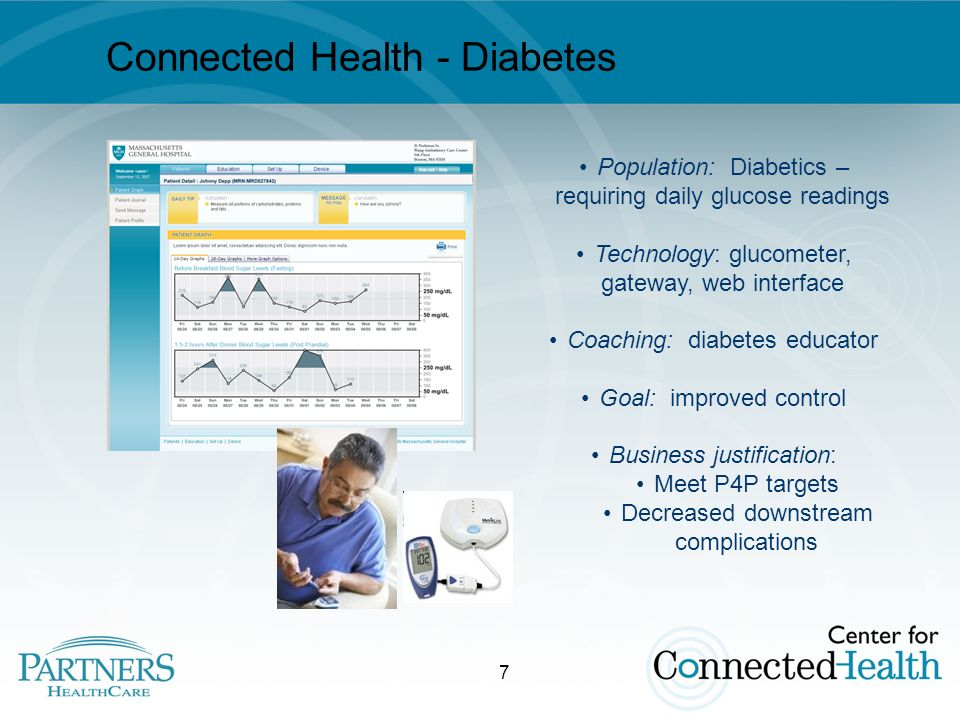 7 Connected Health - Diabetes Population: Diabetics – requiring daily glucose readings Technology: glucometer, gateway, web interface Coaching: diabetes educator Goal: improved control Business justification: Meet P4P targets Decreased downstream complications