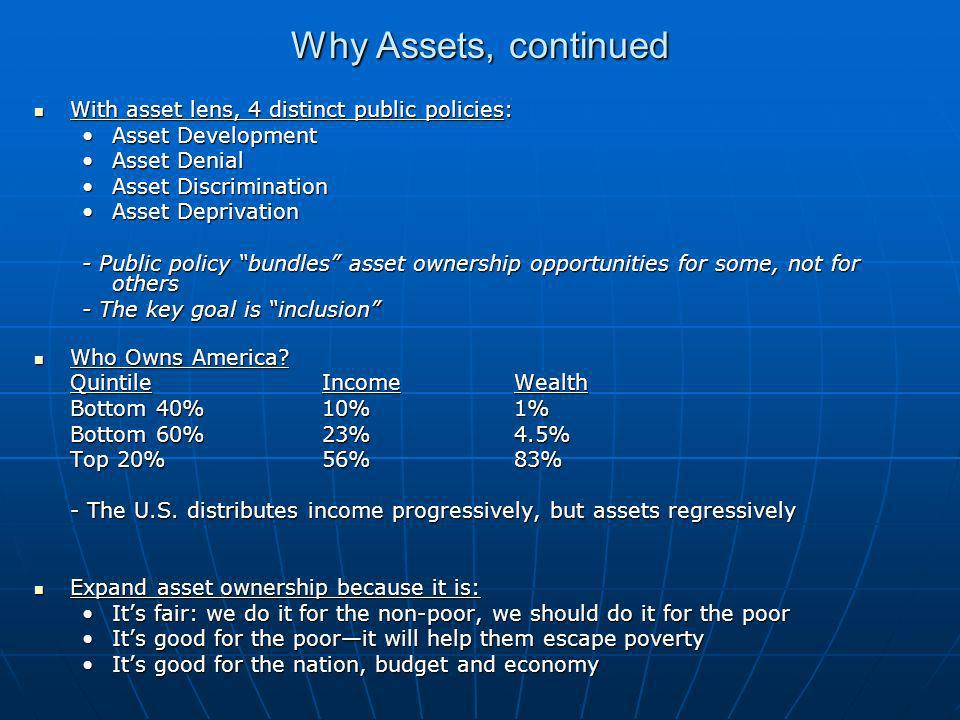 Why Assets, continued With asset lens, 4 distinct public policies: With asset lens, 4 distinct public policies: Asset DevelopmentAsset Development Asset DenialAsset Denial Asset DiscriminationAsset Discrimination Asset DeprivationAsset Deprivation - Public policy bundles asset ownership opportunities for some, not for others - The key goal is inclusion Who Owns America.