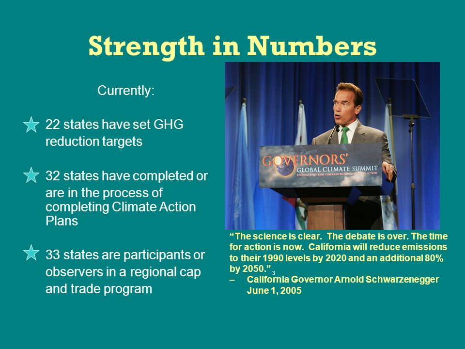 Strength in Numbers Currently: 22 states have set GHG reduction targets 32 states have completed or are in the process of completing Climate Action Plans 33 states are participants or observers in a regional cap and trade program The science is clear.