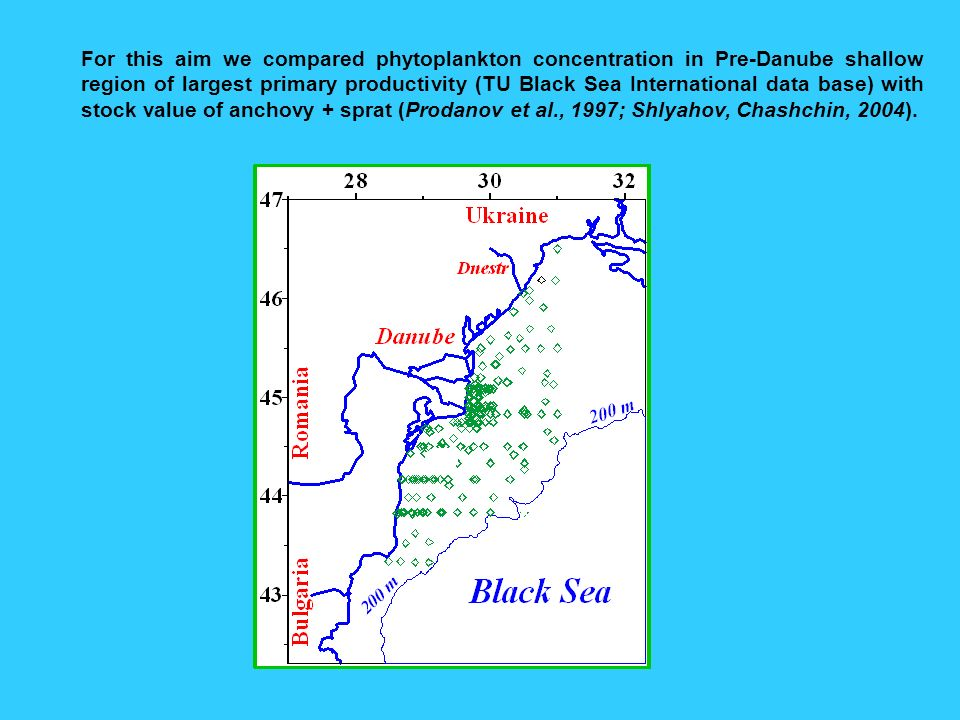 For this aim we compared phytoplankton concentration in Pre-Danube shallow region of largest primary productivity (TU Black Sea International data base) with stock value of anchovy + sprat (Prodanov et al., 1997; Shlyahov, Chashchin, 2004).