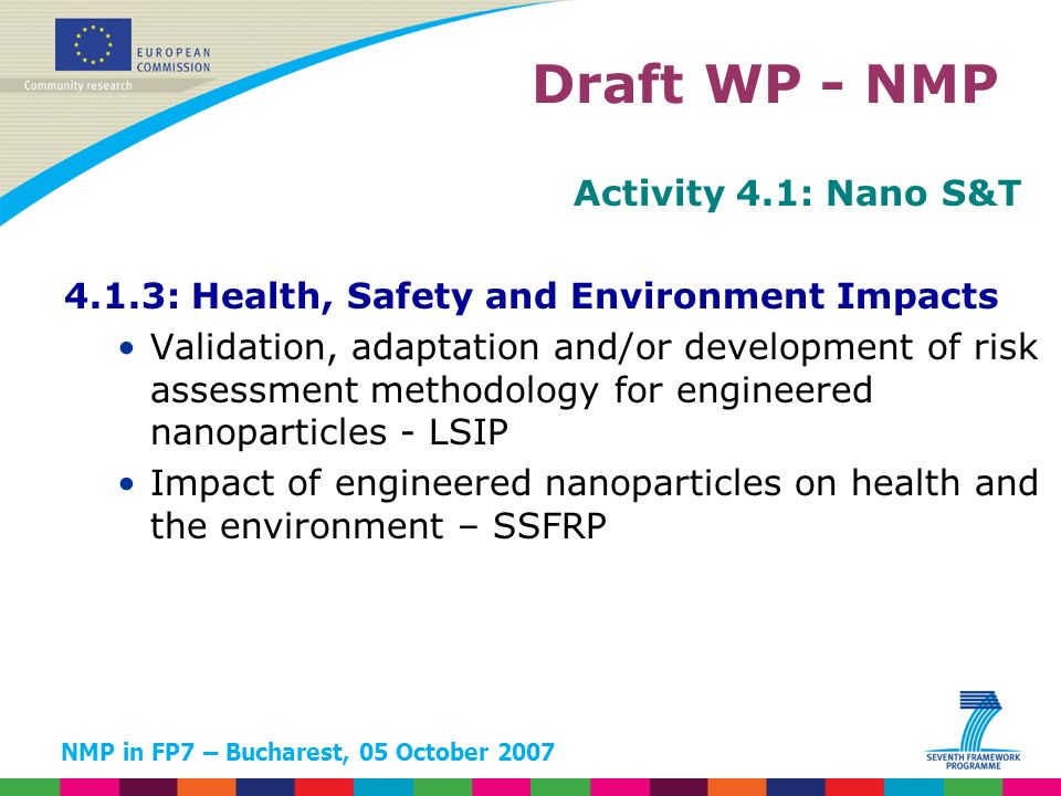 NMP in FP7 – Bucharest, 05 October 2007 Activity 4.1: Nano S&T 4.1.3: Health, Safety and Environment Impacts Validation, adaptation and/or development of risk assessment methodology for engineered nanoparticles - LSIP Impact of engineered nanoparticles on health and the environment – SSFRP Draft WP - NMP
