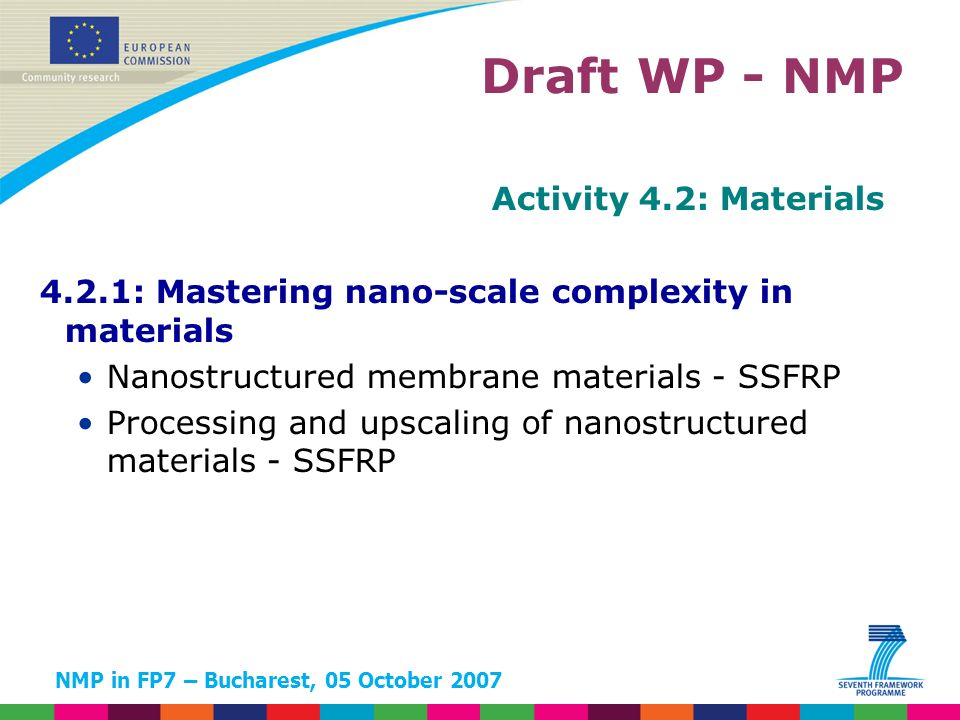 NMP in FP7 – Bucharest, 05 October 2007 Activity 4.2: Materials 4.2.1: Mastering nano-scale complexity in materials Nanostructured membrane materials - SSFRP Processing and upscaling of nanostructured materials - SSFRP Draft WP - NMP